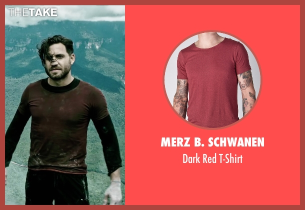 Merz B. Schwanen red t-shirt from Point Break seen with Édgar Ramírez (Bodhi)