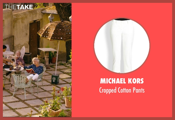 Michael Kors white pants from The Second Best Exotic Marigold Hotel seen with Diana Hardcastle (Carol Parr)