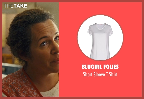 Blugirl Folies white t-shirt from McFarland, USA seen with Diana Maria Riva (Senora Diaz)