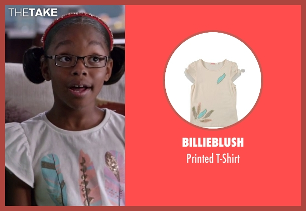 Billieblush beige t-shirt from Black-ish seen with Diane Johnson (Marsai Martin)