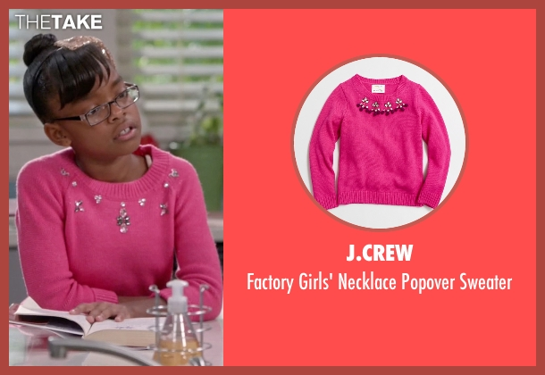 J.Crew pink sweater from Black-ish seen with Diane Johnson (Marsai Martin)