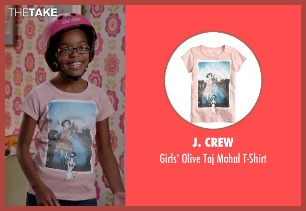 J. Crew pink t-shirt from Black-ish seen with Diane Johnson (Marsai Martin)