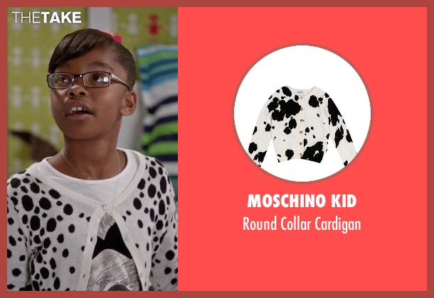 Moschino Kid white cardigan from Black-ish seen with Diane Johnson (Marsai Martin)