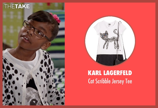 Karl Lagerfeld white tee from Black-ish seen with Diane Johnson (Marsai Martin)