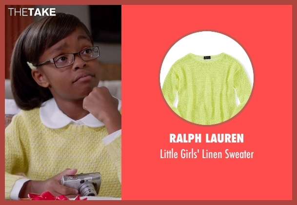 Ralph Lauren yellow sweater from Black-ish seen with Diane Johnson (Marsai Martin)