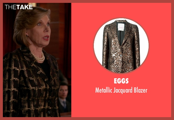 Eggs black blazer from The Good Wife seen with Diane Lockhart (Christine Baranski)