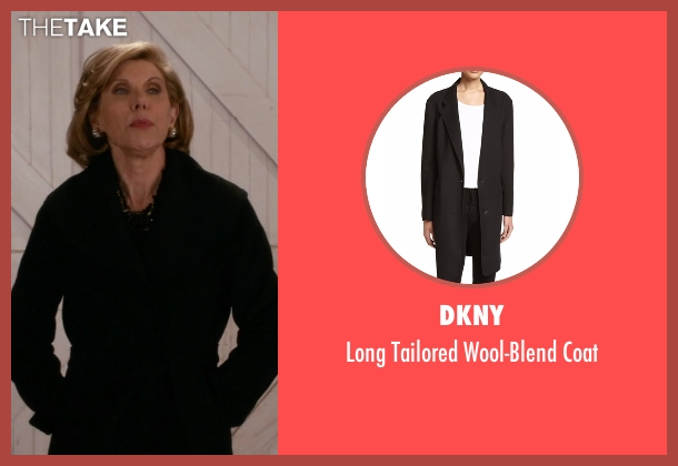 DKNY black coat from The Good Wife seen with Diane Lockhart (Christine Baranski)