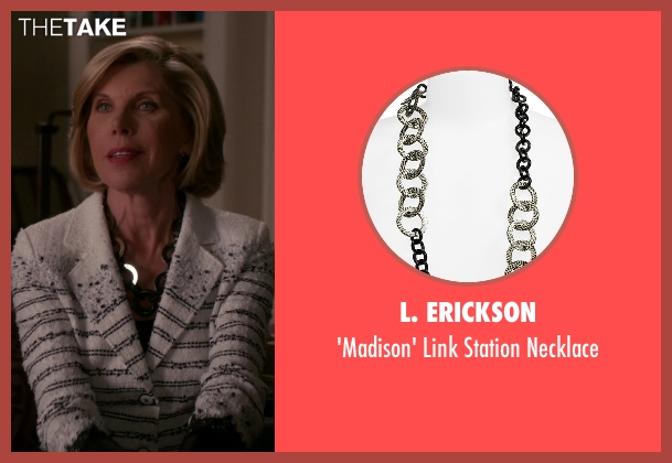 L. Erickson black necklace from The Good Wife seen with Diane Lockhart (Christine Baranski)