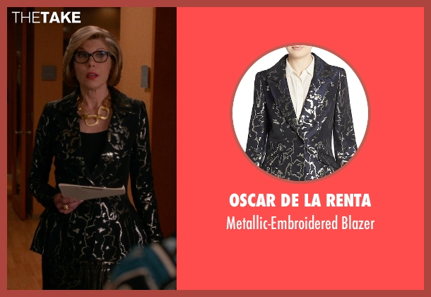 Oscar De La Renta blue blazer from The Good Wife seen with Diane Lockhart (Christine Baranski)