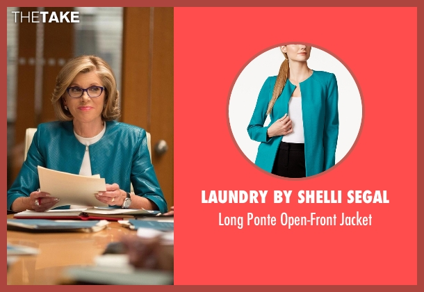 Laundry By Shelli Segal blue jacket from The Good Wife seen with Diane Lockhart (Christine Baranski)
