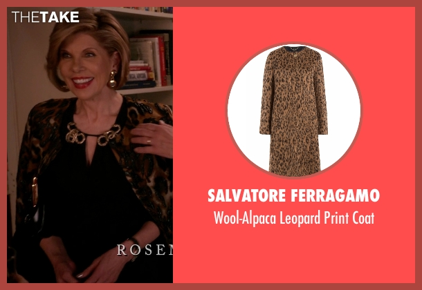 Salvatore Ferragamo brown coat from The Good Wife seen with Diane Lockhart (Christine Baranski)