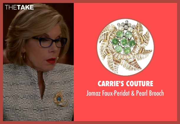 Carrie's Couture gold brooch from The Good Wife seen with Diane Lockhart (Christine Baranski)