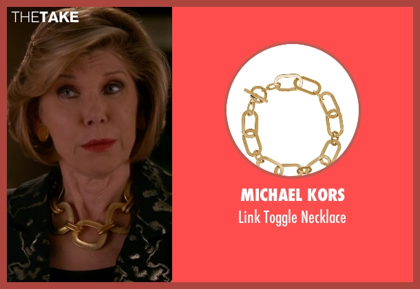 Michael Kors gold necklace from The Good Wife seen with Diane Lockhart (Christine Baranski)