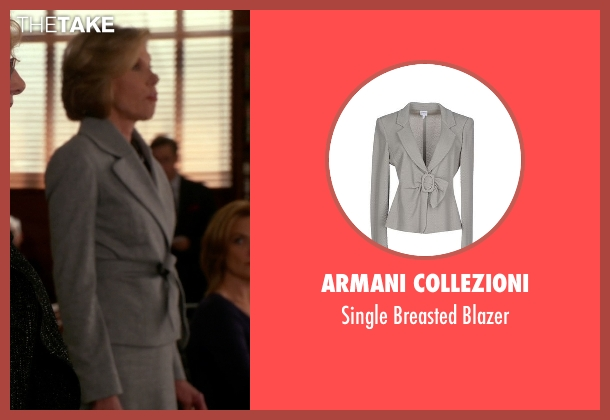 Armani Collezioni gray blazer from The Good Wife seen with Diane Lockhart (Christine Baranski)