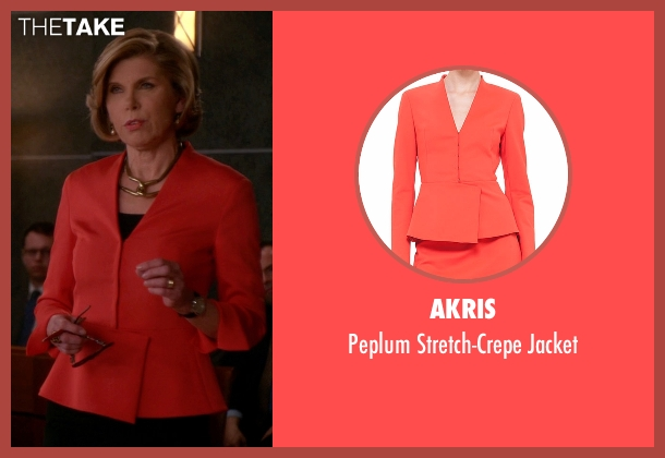 Akris orange jacket from The Good Wife seen with Diane Lockhart (Christine Baranski)
