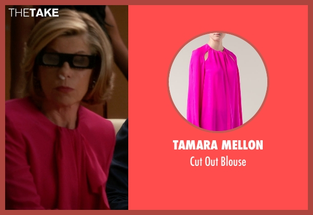 Tamara Mellon pink blouse from The Good Wife seen with Diane Lockhart (Christine Baranski)
