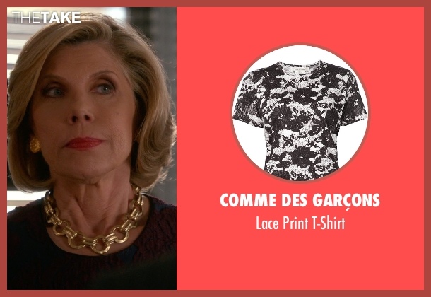 Comme Des Garçons red t-shirt from The Good Wife seen with Diane Lockhart (Christine Baranski)