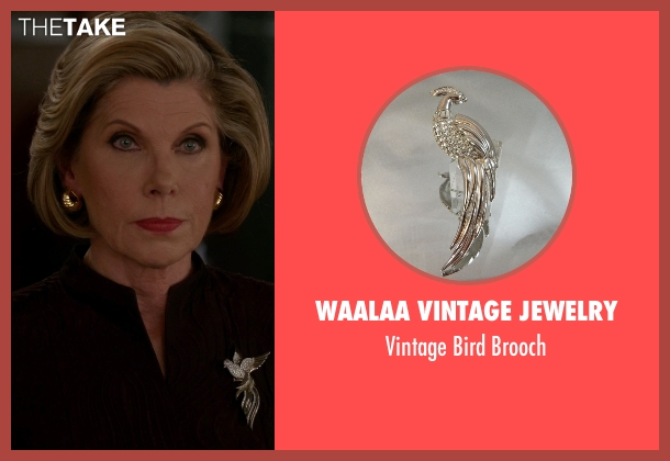 Waalaa Vintage Jewelry silver brooch from The Good Wife seen with Diane Lockhart (Christine Baranski)
