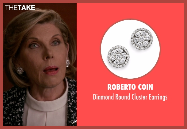 Roberto Coin silver earrings from The Good Wife seen with Diane Lockhart (Christine Baranski)