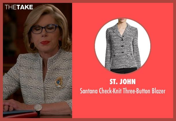 St. John white blazer from The Good Wife seen with Diane Lockhart (Christine Baranski)