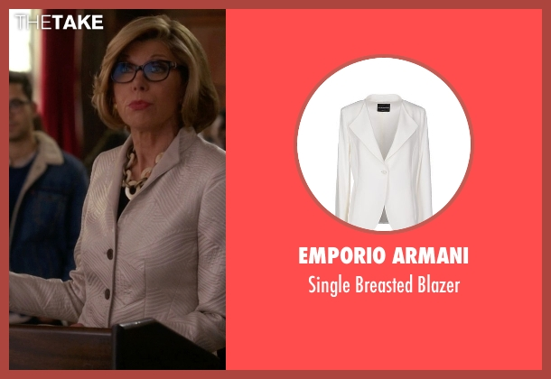 Emporio Armani white blazer from The Good Wife seen with Diane Lockhart (Christine Baranski)