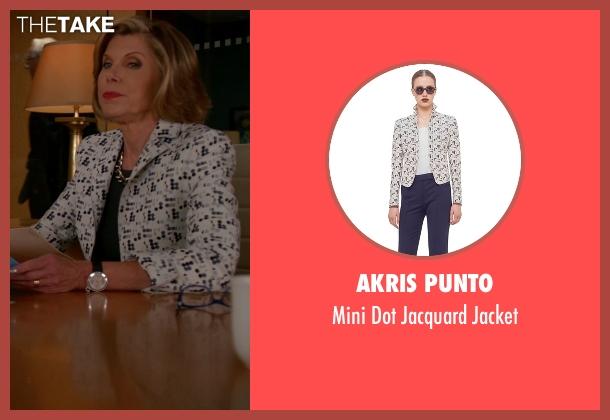 Akris Punto white jacket from The Good Wife seen with Diane Lockhart (Christine Baranski)