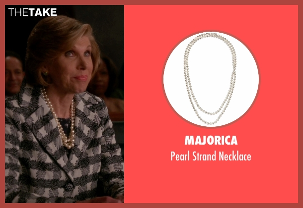 Majorica white necklace from The Good Wife seen with Diane Lockhart (Christine Baranski)
