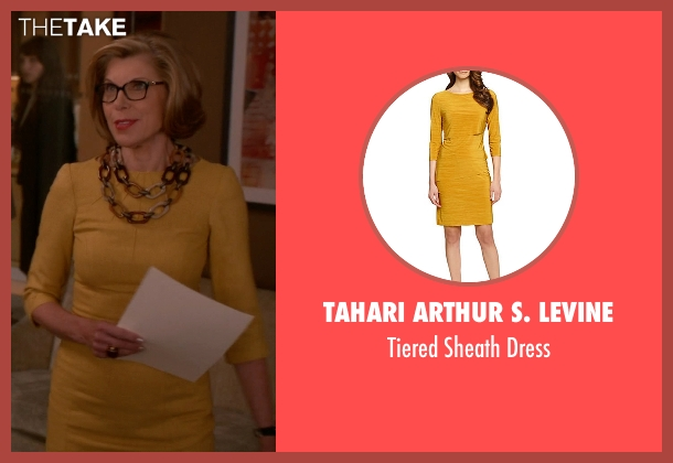 Tahari Arthur S. Levine yellow dress from The Good Wife seen with Diane Lockhart (Christine Baranski)
