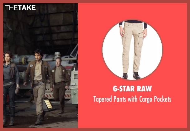 G-Star Raw beige pockets from Rogue One: A Star Wars Story seen with Diego Luna (Captain Cassian Andor)