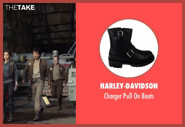 Harley-Davidson black boots from Rogue One: A Star Wars Story seen with Diego Luna (Captain Cassian Andor)