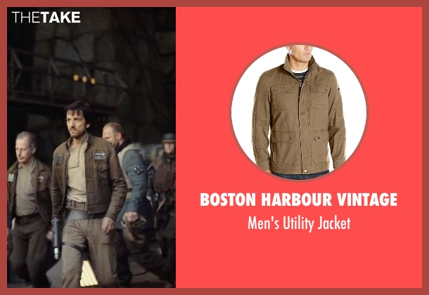 Boston Harbour Vintage brown jacket from Rogue One: A Star Wars Story seen with Diego Luna (Captain Cassian Andor)