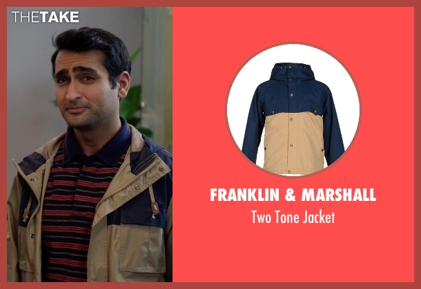 Franklin & Marshall beige jacket from Silicon Valley seen with Dinesh Chugtai (Kumail Nanjiani)