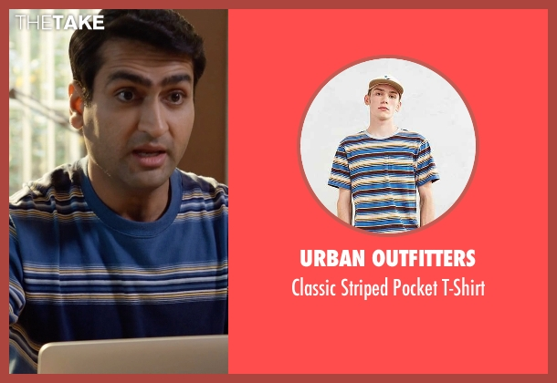 Urban Outfitters blue t-shirt from Silicon Valley seen with Dinesh Chugtai (Kumail Nanjiani)