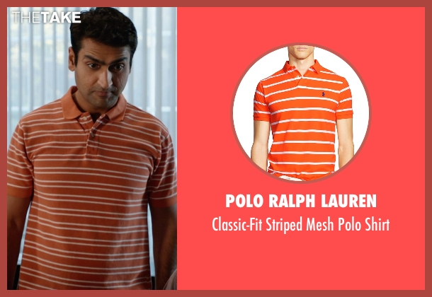 Polo Ralph Lauren orange shirt from Silicon Valley seen with Dinesh Chugtai (Kumail Nanjiani)
