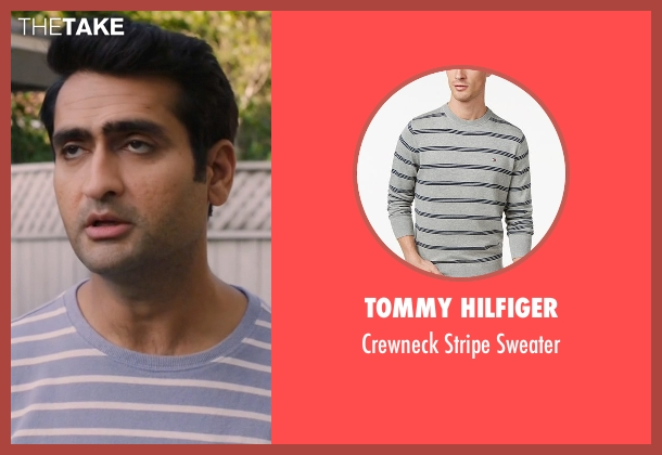 Tommy Hilfiger gray sweater from Silicon Valley seen with Dinesh (Kumail Nanjiani)