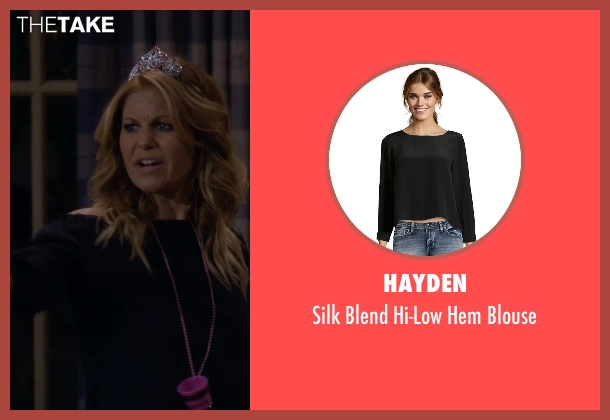 Hayden black blouse from Fuller House seen with D.J. Tanner-Fuller (Candace Cameron Bure)