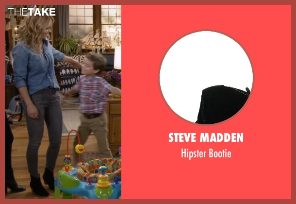 Steve Madden black bootie from Fuller House seen with D.J. Tanner-Fuller (Candace Cameron Bure)