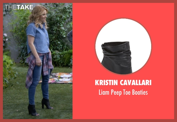 Kristin Cavallari black booties from Fuller House seen with D.J. Tanner-Fuller (Candace Cameron Bure)