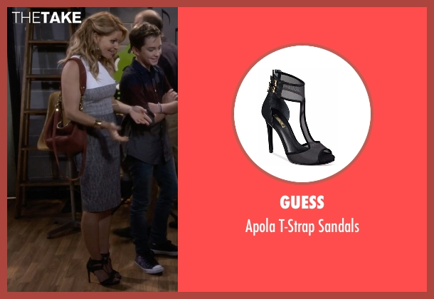 Guess black sandals from Fuller House seen with D.J. Tanner-Fuller (Candace Cameron Bure)
