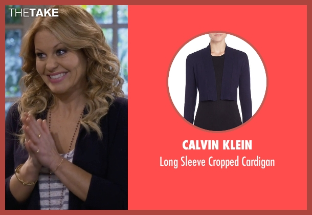 Calvin Klein blue cardigan from Fuller House seen with D.J. Tanner-Fuller (Candace Cameron Bure)