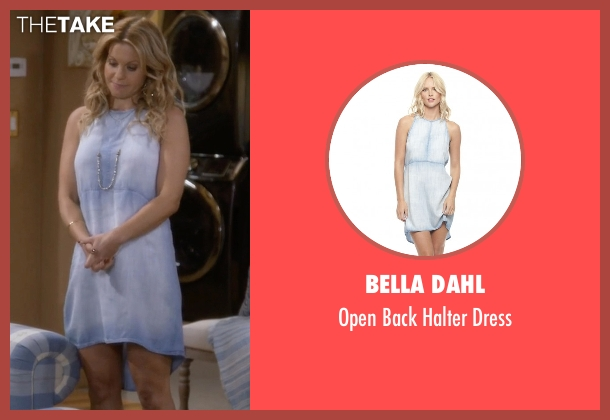 Bella Dahl blue dress from Fuller House seen with D.J. Tanner-Fuller (Candace Cameron Bure)