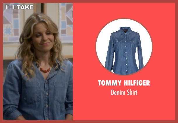 Tommy Hilfiger blue shirt from Fuller House seen with D.J. Tanner-Fuller (Candace Cameron Bure)