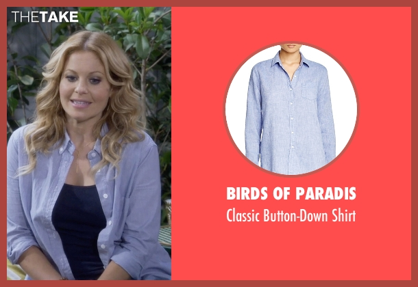 Birds of Paradis blue shirt from Fuller House seen with D.J. Tanner-Fuller (Candace Cameron Bure)