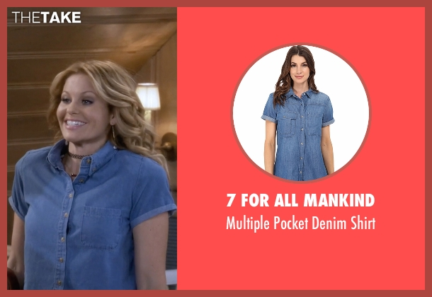 7 For All Mankind blue shirt from Fuller House seen with D.J. Tanner-Fuller (Candace Cameron Bure)