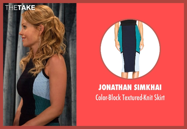 Jonathan Simkhai blue skirt from Fuller House seen with D.J. Tanner-Fuller (Candace Cameron Bure)