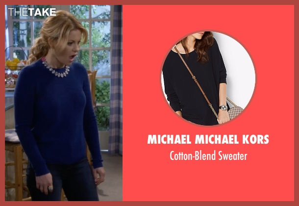 Michael Michael Kors blue sweater from Fuller House seen with D.J. Tanner-Fuller (Candace Cameron Bure)