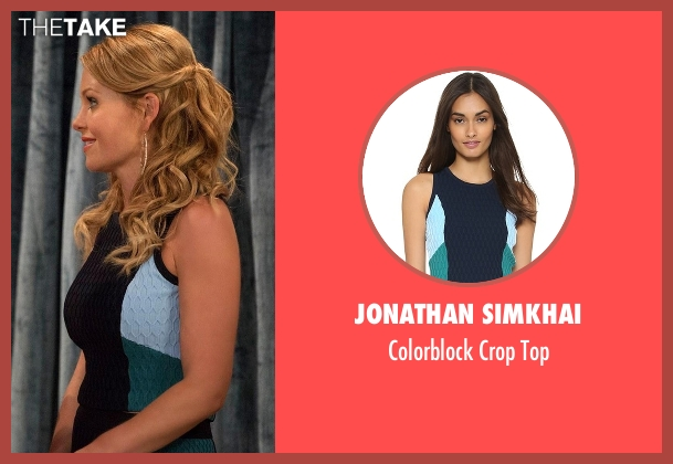 Jonathan Simkhai blue top from Fuller House seen with D.J. Tanner-Fuller (Candace Cameron Bure)