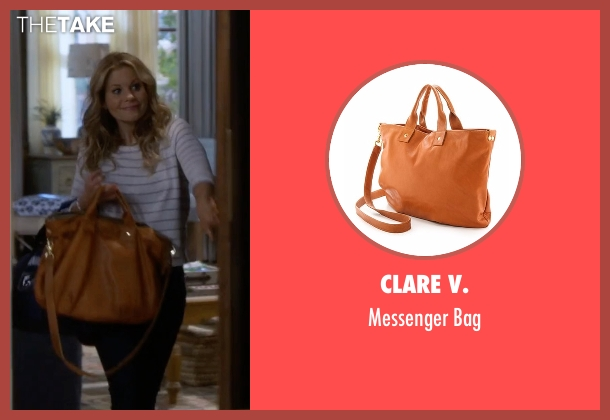 Clare V. brown bag from Fuller House seen with D.J. Tanner-Fuller (Candace Cameron Bure)