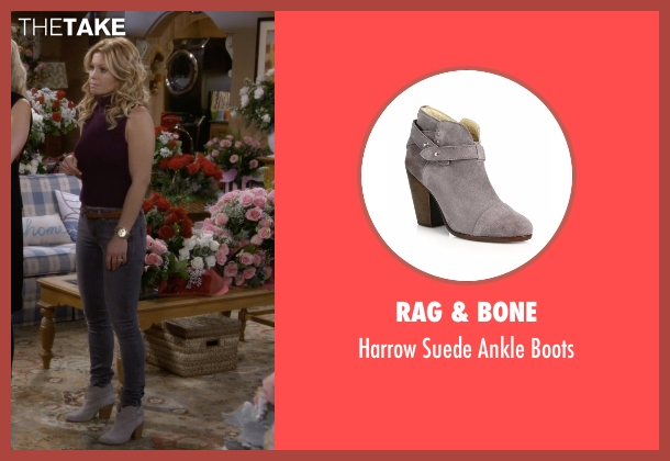 Rag & Bone gray boots from Fuller House seen with D.J. Tanner-Fuller (Candace Cameron Bure)