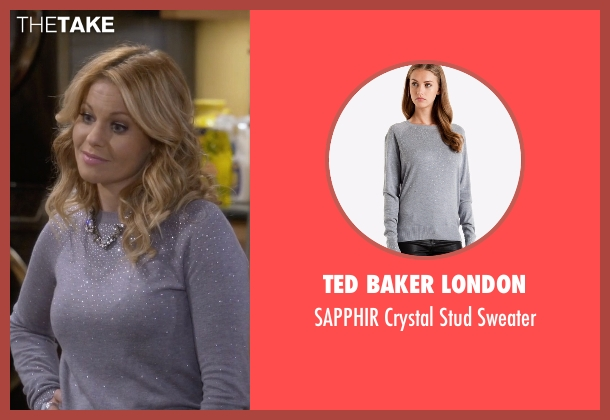 Ted Baker London gray sweater from Fuller House seen with D.J. Tanner-Fuller (Candace Cameron Bure)